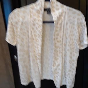 August Silk Gold & White Open Front Crop Sweater S